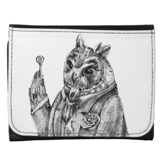Mystic owl ink drawing  black white wallets