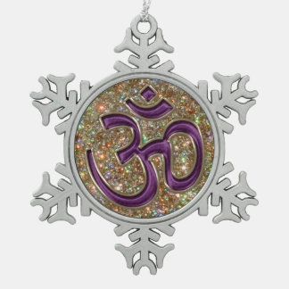 Mystic Purple OM Gold Glitter Snowflake Ornament
