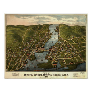 Mystic River Connecticut 1879 Antique Panoramic Ma Posters