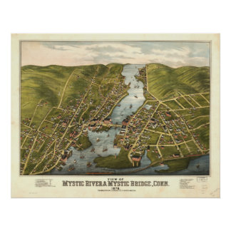 Mystic River Connecticut 1879 Panoramic Map Poster