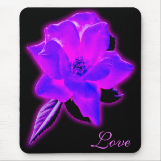 Mystic rose purple neon glow mouse pads