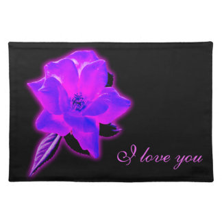 Mystic rose purple neon glow placemat
