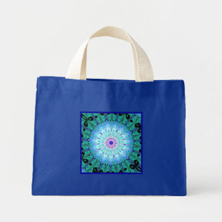 Mystic Singing Crystal Kaleidoscope Small Blue Mini Tote Bag