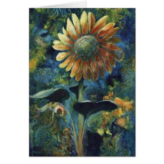 """Mystic Sunflower"", a sunflower greeting card"