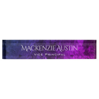 Mystic-Topaz Desk   Blue Pink Purple Ombre Chic Name Plate