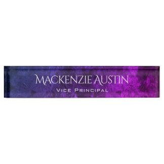 Mystic Topaz Modern Purple Blue Pink Jewel Tones Desk Nameplate