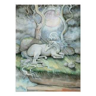 Mystic Unicorn Full Moon Poster Print