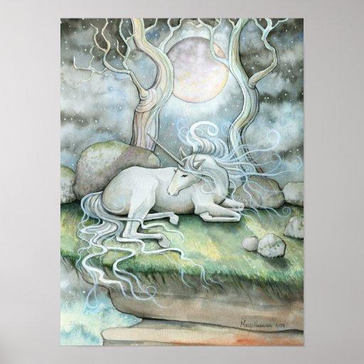 Mystic Unicorn Full Moon Poster Print