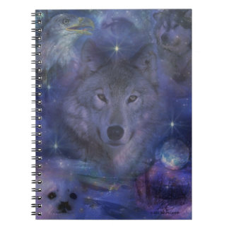 Mystic Wolf in the Moonlight Spiral Notebook