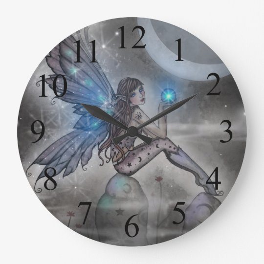 Mystical Blue Fairy Fantasy Art Large Clock