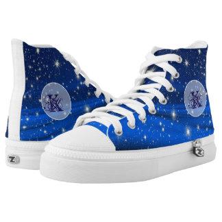 Mystical Blue Sky Stars Monogram shoes Printed Shoes
