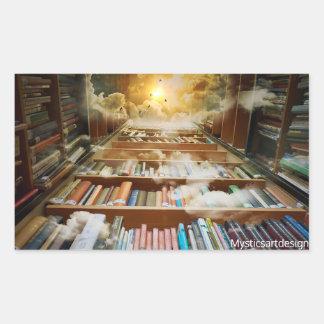 Mystical Bookshelf and Books Climbing to Heavens Rectangular Sticker
