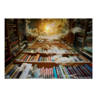 Mystical Bookshelf Towering Towards the Heavens Poster