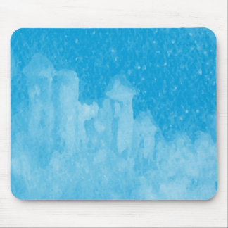 Mystical Castle Baby Blue Snowy Night Mouse Pad