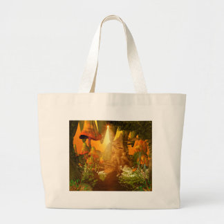Mystical cave with mushrooms tote bags