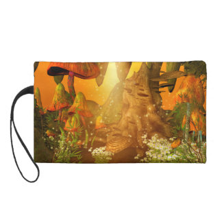 Mystical cave with mushrooms wristlet purse