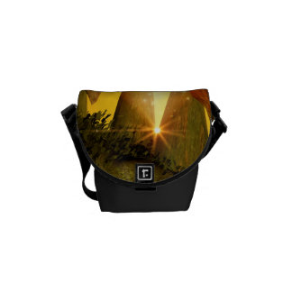 Mystical cave with mushrooms messenger bag