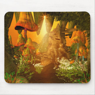 Mystical cave with mushrooms mouse pad