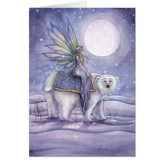 Mystical Christmas Card Fairy Riding Polar Bear