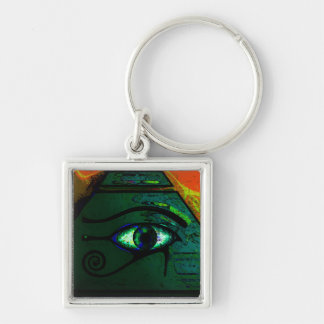 Mystical Egyptian Eye of Horus Silver-Colored Square Key Ring