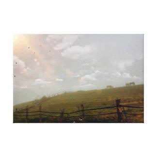 Mystical Evening, Horses Grazing Artwork Canvas Print