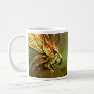 Mystical Fantasy Lion's Head Profile Basic White Mug