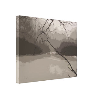 Mystical Fog over Swamp Wrapped Canvas Print