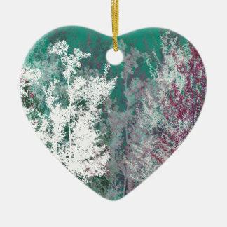 Mystical forest ceramic heart decoration