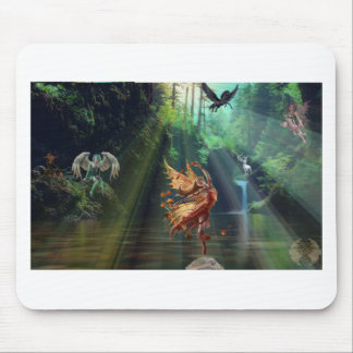 Mystical Forest Waterfall Mouse Pad