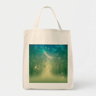 Mystical forest with nebula and moon grocery tote bag
