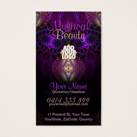 Mystical Fractal Art Purple Gold Business Card