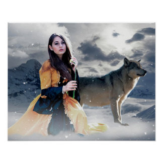 Mystical Girl with Wolf in Winter Scene Poster