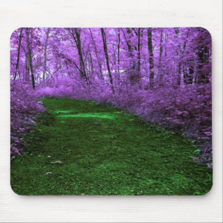 Mystical Green Path in Purple Forest Mousepad