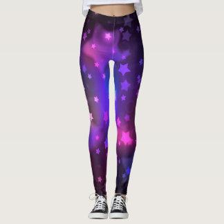 Mystical Magenta Star Galaxy Leggings