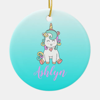 Mystical Magical Happy Unicorn on a Cloud Name Christmas Ornament