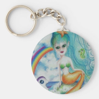 Mystical magical mermaid basic round button key ring