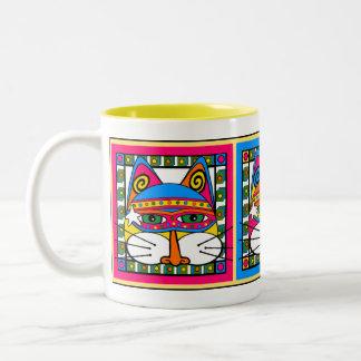 Mystical, Magical Trio of Kitties Two-Tone Coffee Mug