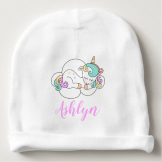 Mystical Magical Unicorn on a Cloud Name Baby Beanie