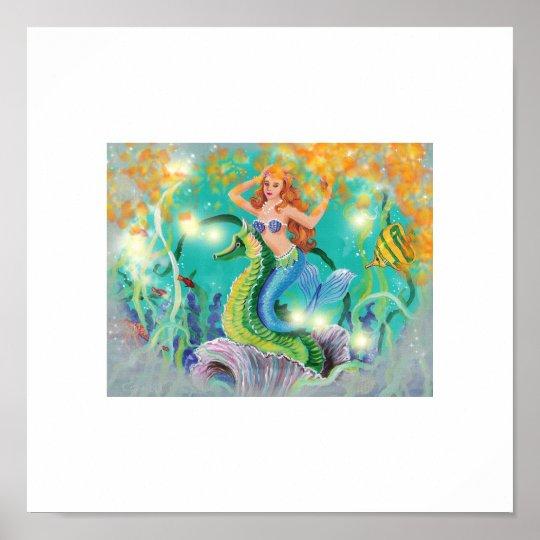 Mystical Mermaid N Seahorse Art Print Zazzle Co Uk
