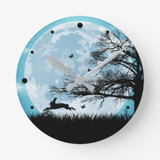 Mystical Moon with Rabbit Silhouette Clock