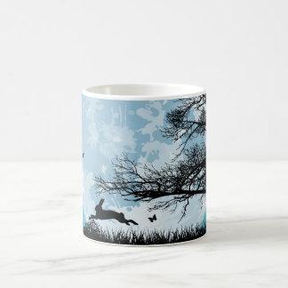 Mystical Moon with Rabbit Silhouette Coffee Mug