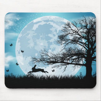 Mystical Moon with Rabbit Silhouette Mouse Mat