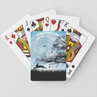 Mystical Moon with Rabbit Silhouette Poker Deck