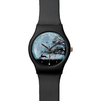 Mystical Moon with Rabbit Silhouette Watches