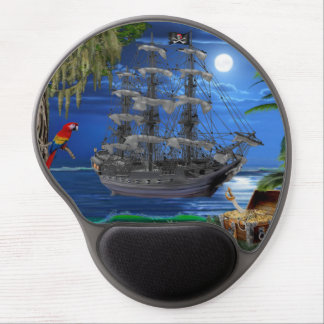Mystical Moonlit Pirate Ship Gel Mouse Mat