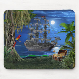 Mystical Moonlit Pirate Ship Mouse Mat