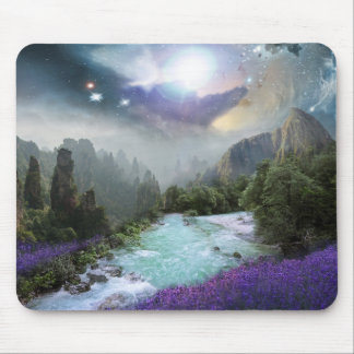 Mystical Nature Landscape with Rushing Water Mouse Pad