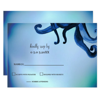 Mystical Ocean Octopus Wedding rsvp Card