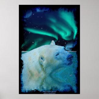 Mystical Polar Bear & Aurora Wildlife Art Poster