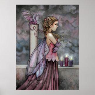 Mystical Purple Pink Fairy Dragon Poster Print
